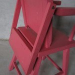 The pink high chair