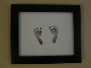 Her footprints on the day she was born.