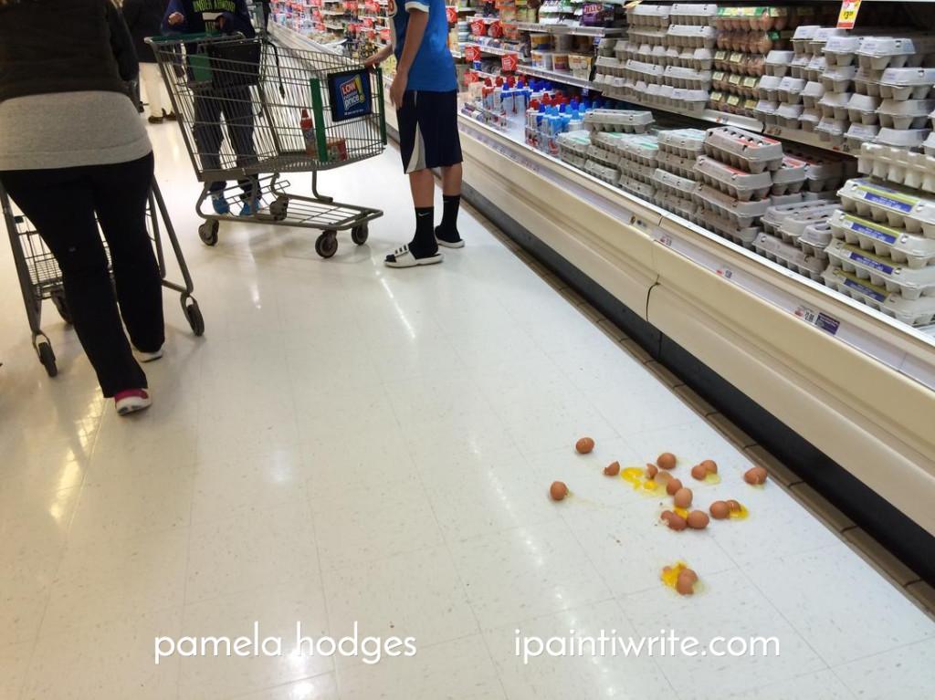 A dozen broken eggs.