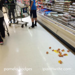 There were a dozen broken eggs in Aisle 22, whose mess was it?